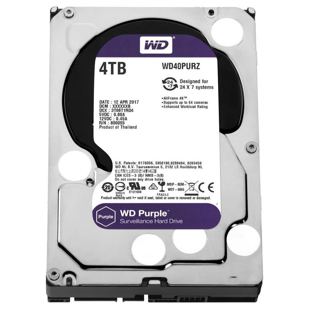 HD INTERNO WESTERN DIGITAL PURPLE 4TB SATA III 5400RPM WD40PURZ