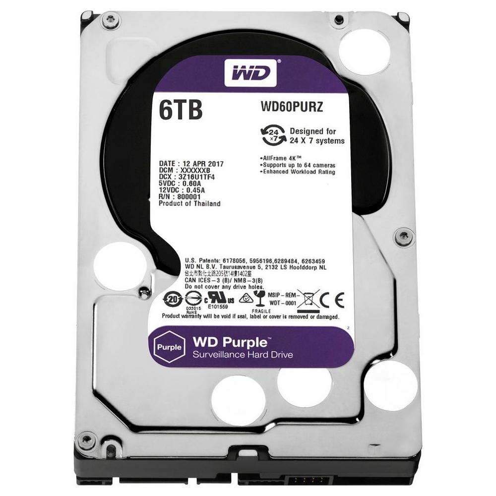 HD INTERNO WESTERN DIGITAL PURPLE 6TB SATA III 5400RPM WD60PURZ