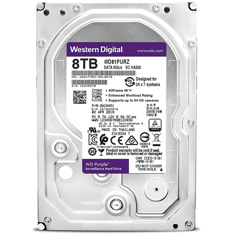 HD INTERNO WESTERN DIGITAL PURPLE 8TB SATA III 5400RPM WD81PURZ