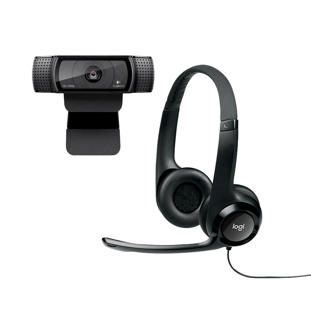 KIT VOLTA ÀS AULAS FONE HEADSET COM MICROFONE LOGITECH H390 + WEBCAM LOGITECH HD C920 1080P