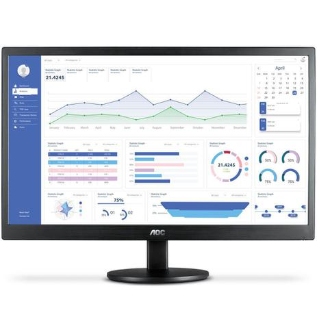 MONITOR AOC 18.5 LED HDMI / VGA HD WIDESCREEN ULTRA HIGH DCR OSD  PRETO E970SWHNL