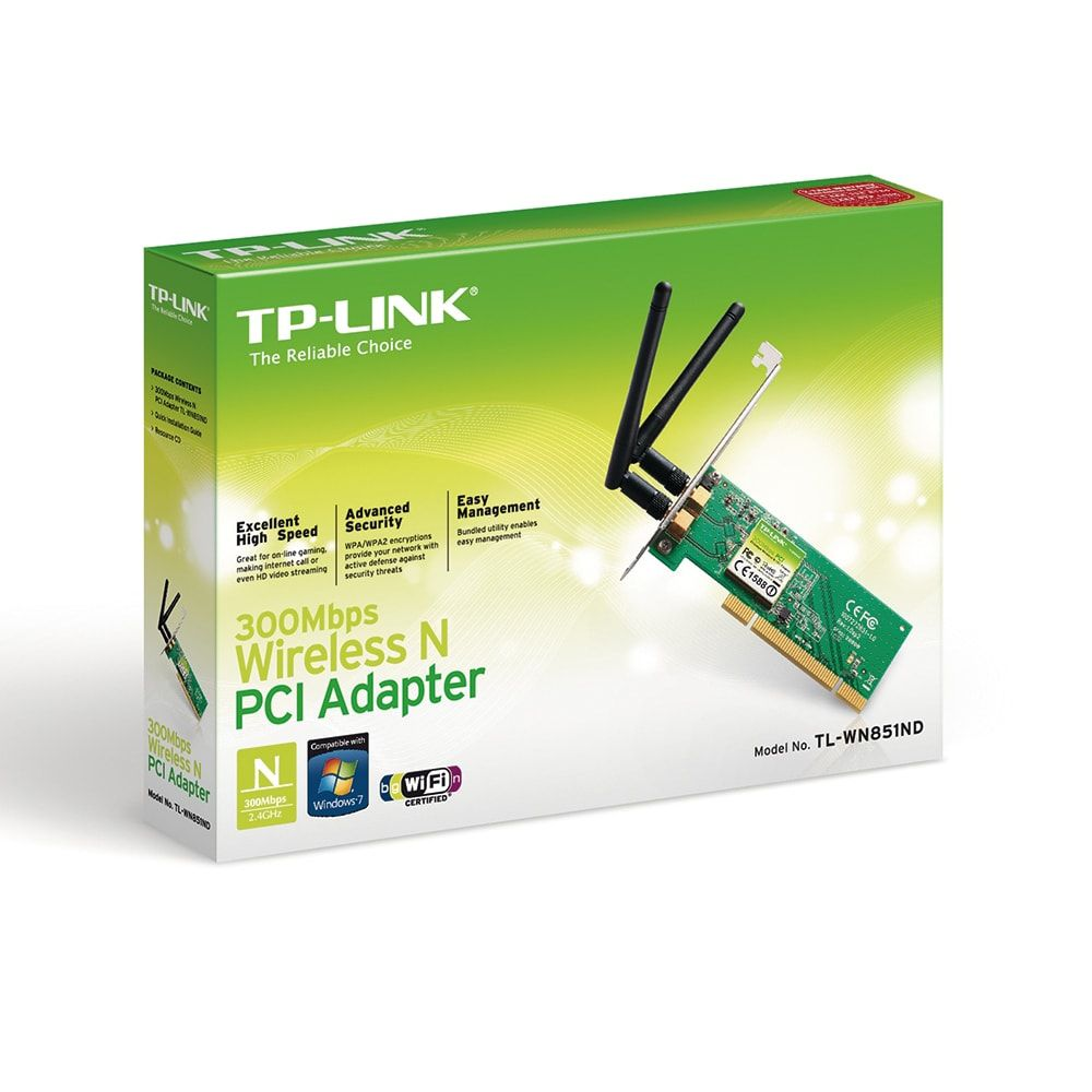PLACA DE REDE TP-LINK TL-WN851ND PCI 300MBPS 2 ANTENA REMOVIVEL 2DBI