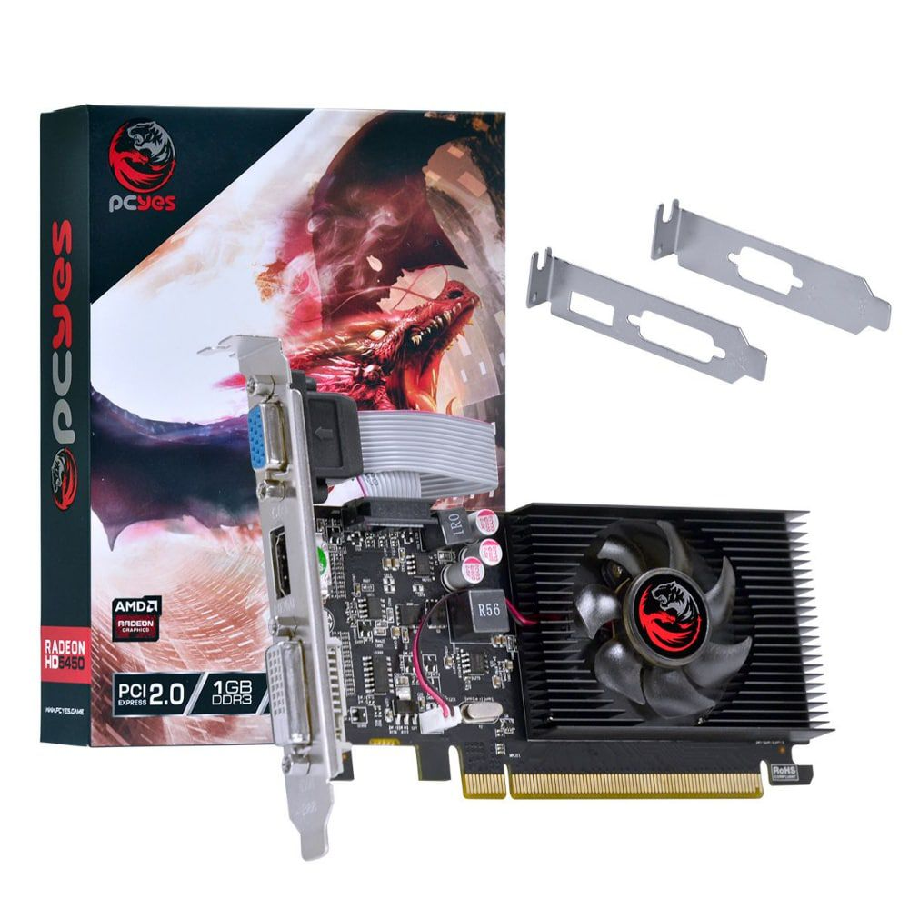 PLACA DE VIDEO PCYES AMD RADEON HD 5450 1GB DDR3 64 BITS COM KIT LOW PROFILE INCLUSO - PJ54506401D3LP