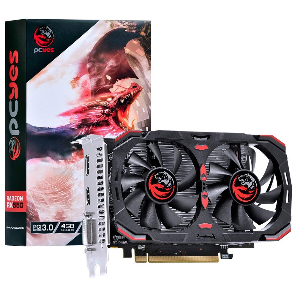PLACA DE VIDEO PCYES AMD RADEON RX 550 4GB DDR5 128 BITS - PJ550RX12804G5DF