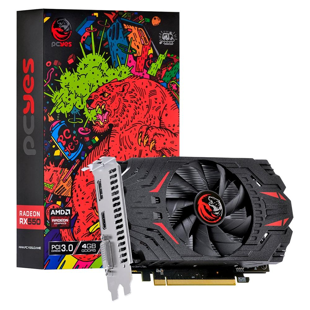 PLACA DE VIDEO PCYES AMD RADEON RX 550 4GB GDDR5 128 BITS SINGLE FAN- PJRX55004128G5SF
