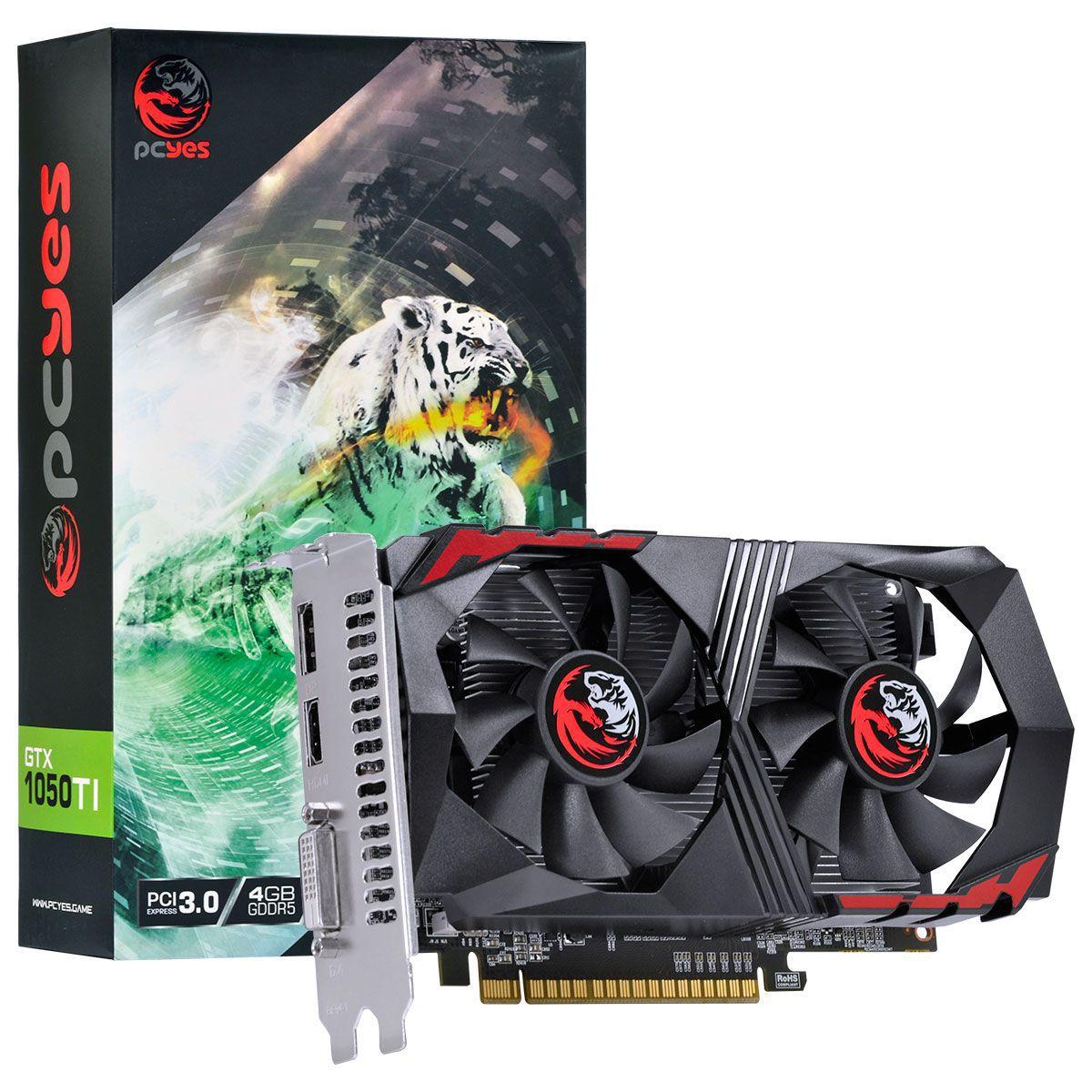 PLACA DE VIDEO PCYES GEFORCE GTX 1050TI 4GB DDR5 128BITS DUAL FAN PA1050TI12804G5DF