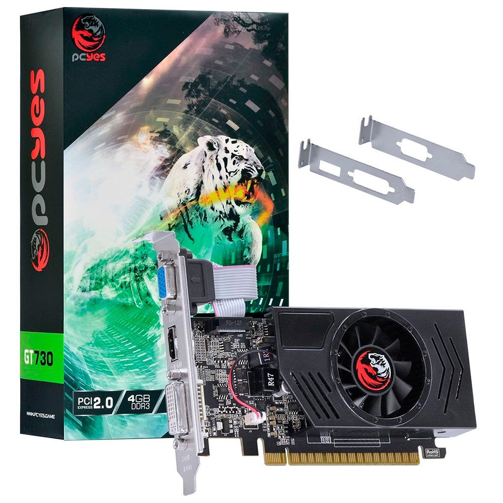 PLACA DE VIDEO PCYES GT730 4GB GDDR3 128 BITS COM KIT LOW PROFILE INCLUSO - PA730GT12804D3