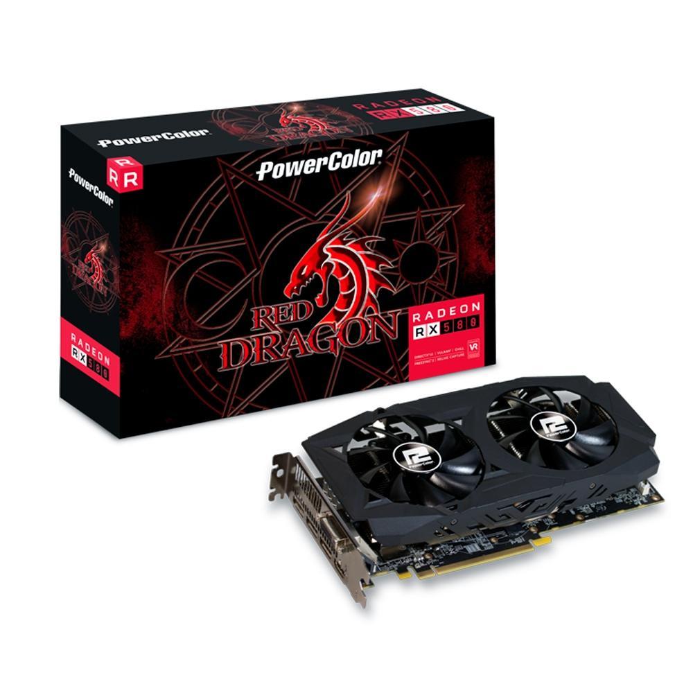 PLACA DE VIDEO RX 580 8GB RED DRAGON POWER COLOR AXRX 580 8GBD5-3DHDV2