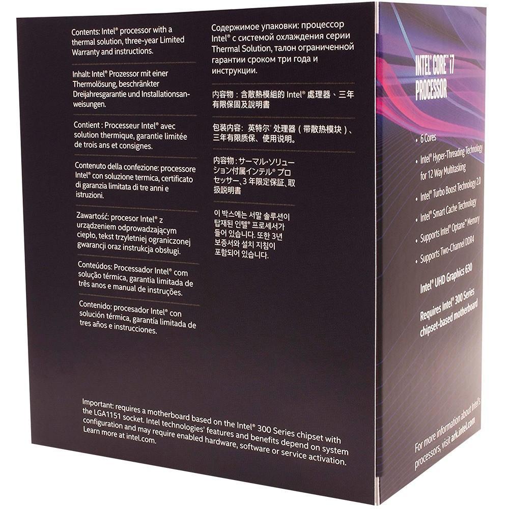 PROCESSADOR INTEL CORE I7-8700 3.2GHZ 12MB LGA 1151 COFFEELAKE 8º GERAÇÃO - BX80684I78700