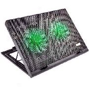 Cooler Duplo Para Notebook Gamer Led Verde Luminoso - Warrior
