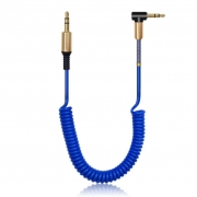 Cabo Auxiliar Estéreo espiral premium P2 para P2 3,5mm It Blue