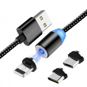 cabo usb magnético 3x1 micro v8- lightning- type-c fast data cable 360° Li-faith Ql-100