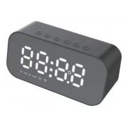 Caixa De Som E Rádio Relógio FM Bluetooth Auxiliar Micro SD Led LCD - SPK-B015 Preto