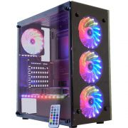 Gabinete Gamer Atlantis III - 3 Fans RGB - Vidro - Black, CG-03N9 K-mex