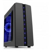 Gabinete Gamer k-mex CG-04R8 Matrix Grafite Escovado Frontal Fita Led Azul Lat. Acrilico Usb 2.0 S/Fonte