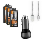 Kit 3 Carregadores Tipo-C Veicular Turbo Android - 2 Usb Metalico LDNIO 36w