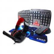 Kit Gamer Teclado + Headset + Mouse + Mousepad Pc e Notebook