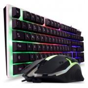 kit teclado e mouse com iluminação rgb e com design ergonômico usb 2.0 dukie dk-519