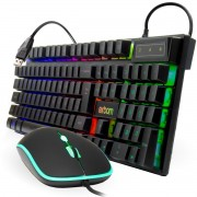 kit Teclado + Mouse Gamer Usb para pc com Led colorido Liga/Desliga Exbom Bk-G550