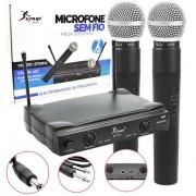 Microfone sem Fio Profissional KP-912 com 2 microfones - Knup