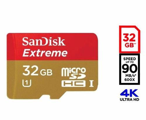 Cartão 32gb Memoria MicroSd 4k Sandisk Classe 10 Extreme