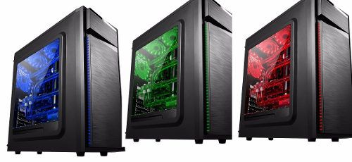 Gabinete Gamer Bluecase Bg-015 + 3 Cooler Led Verde