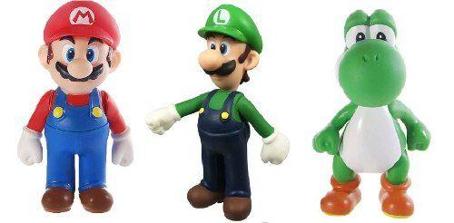 Coleção Mario Yoshi Luigi - Kit 3 Bonecos Super Nintendo Novo