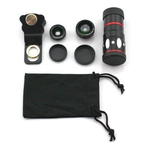 Kit 4 Em 1 Luneta Universal Para Celular com Zoom 10x + Lentes