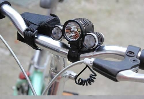 Lanterna Farol Cabeça Bike Tripla Led T6 E 2 Leds R2 Potente