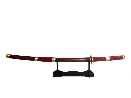 Espada Katana Sandai Kitetsu Vermelha Cosplay Zoro + Suporte