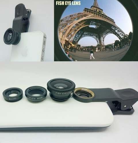 Kit Lentes 3x1 Fisheye Macro Wide Para Câmera de Celular Universal