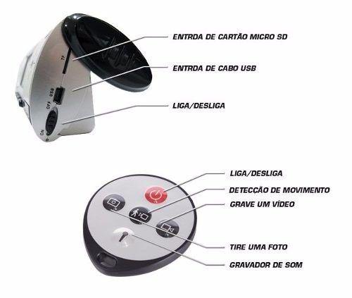 dbfe2a34a47 ... Relogio Espião De Mesa Com Sensor De Movimento Filma E Fotos ...