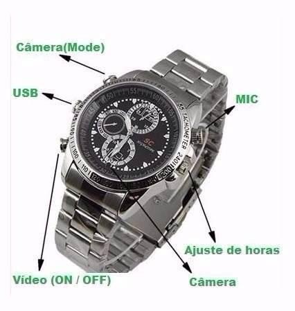 Relógio Espião 8gb Camera Espiã Filmadora Filma E Tira Foto