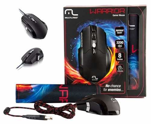 Mouse Gamer 3.200 Dpi Laser + Mousepad Warrior - Multilaser
