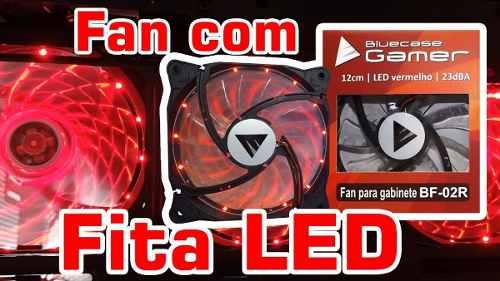 Cooler 12cm Fan Led Vermelho Para Gabinete Bluecase