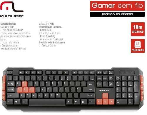 Teclado Gamer Multilaser Sem Fio Gamer Red Keys - Tc191