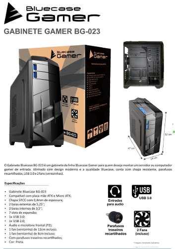 Torre Gabinete Gamer Bluecase Bg-023 2 Baias Usb 3.0 -2 Fans
