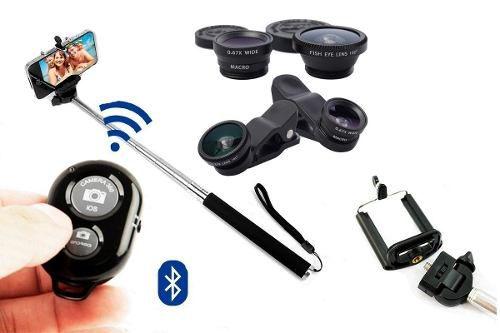 Kit Monopod com Controle Bluetooth + Lentes Olho Peixe