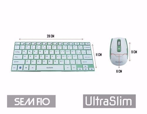 Teclado Mouse Sem Fio Ultra Slim Wireless Aluminio Usb HK3910