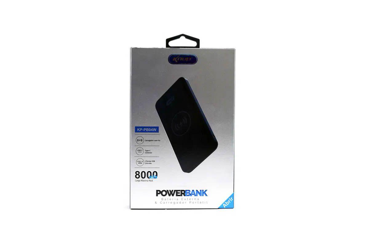 Bateria Externa com Indução 8000mAh - Power Bank Sem Fios