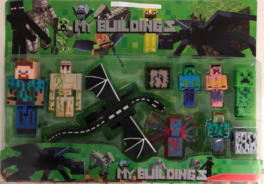 Bonecos Minecraft Kit 10 PCS Dragão Nova Coleção