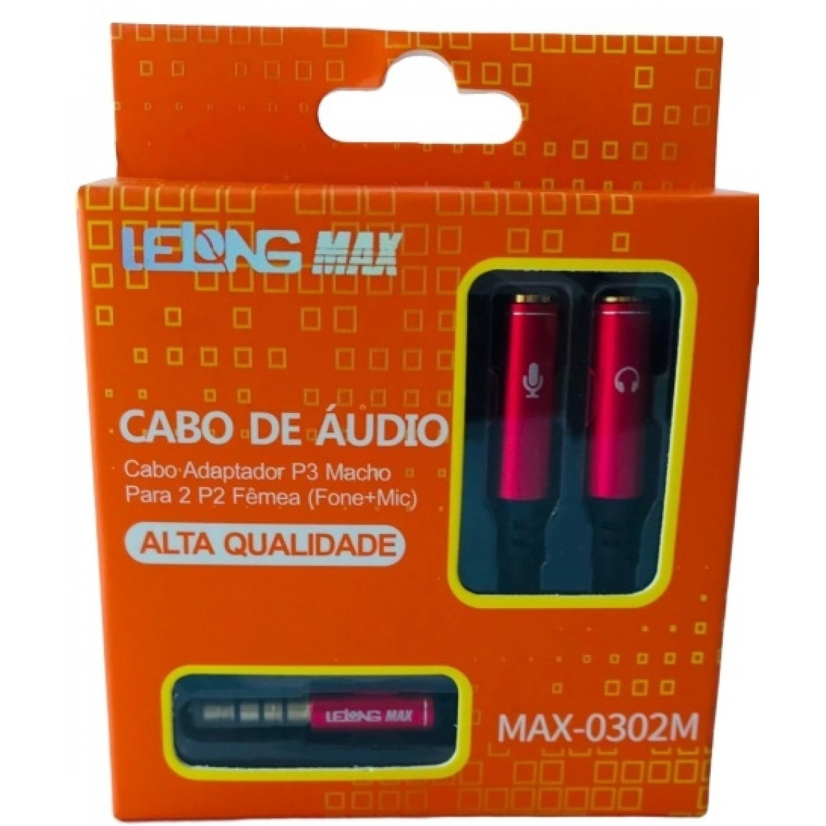 cabo de Áudio adaptador p3 Macho para 2 p2 fêmea lelong max-0302m