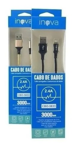 Cabo De Dados Inova Cbo-5833 Carregador Usb 3 Metros iPhone