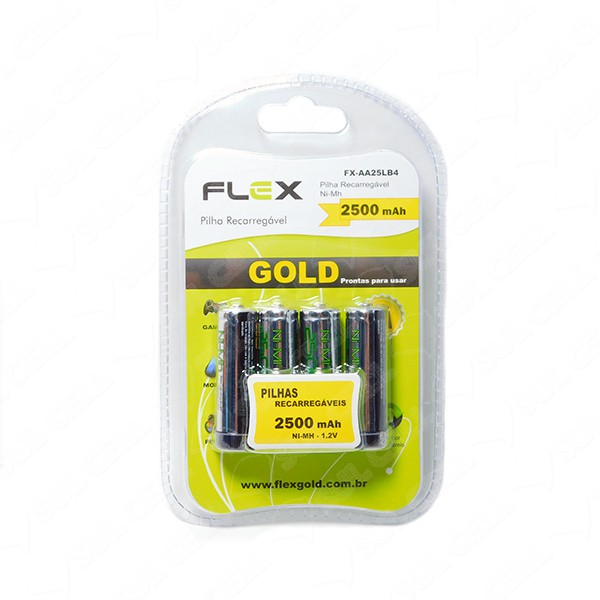 caixa com 4 pilhas aa recarregável gold  2500 mAh Ni-Mh - 1.2 V  flex Fx-aa25lb4