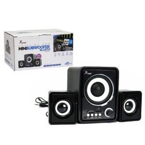 caixa de som  bluetooth mini subwoofer compatível pc e notebook 12w rms conexão usb knup kp-6017bh