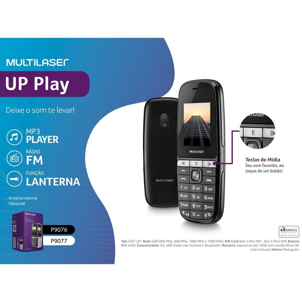Celular Multilaser Up Play Dual Chip 32Mb Tela 1.8 Com Câmera P9076 - Preto