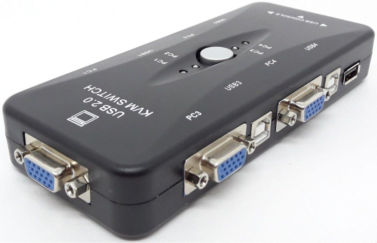 Chaveador KVM 4 Portas - Liga 4 PCs em 1 Monitor
