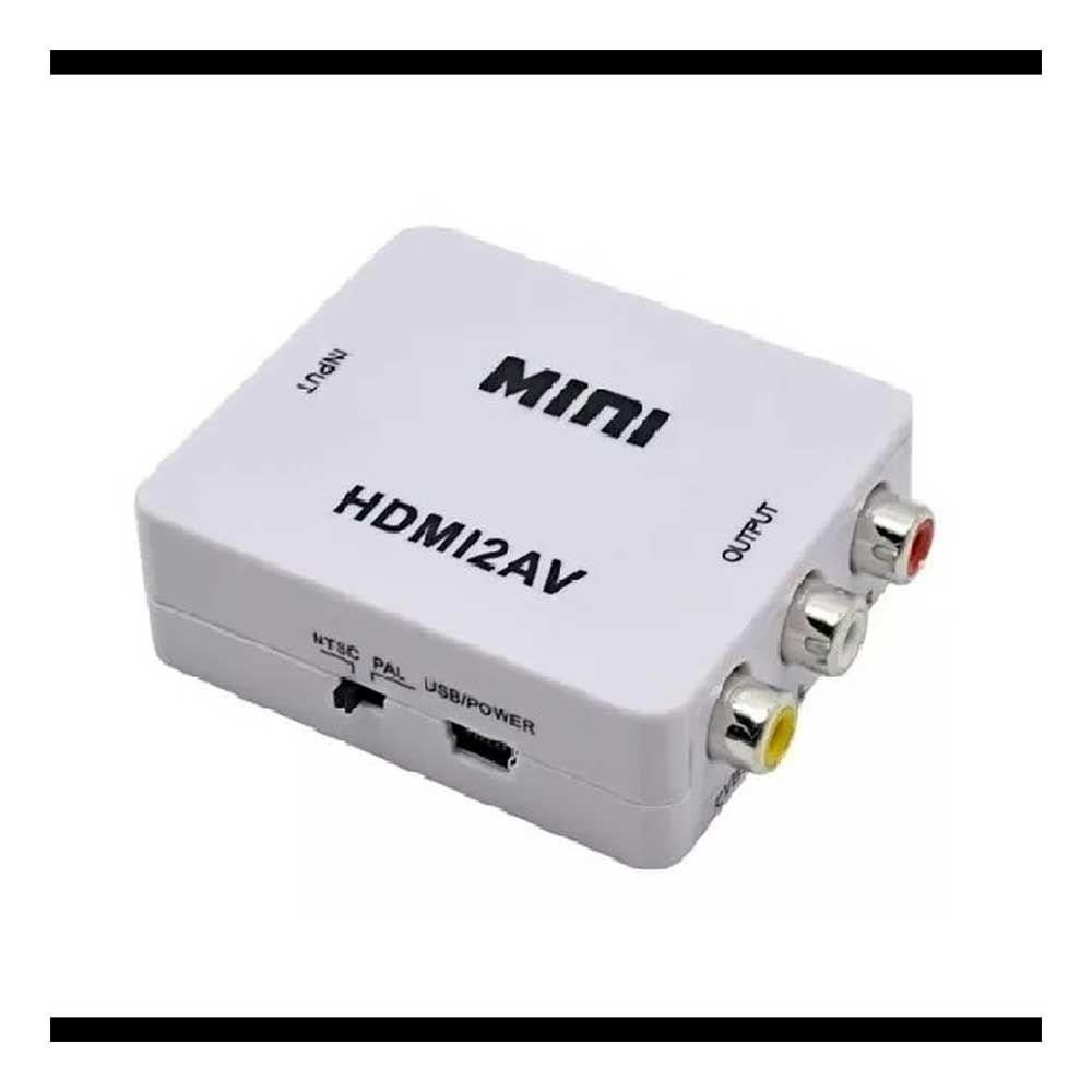 Conversor Mini De Hdmi Para Av ( Rca ) Vídeo 1080p Com Audio - Hdmi X Av