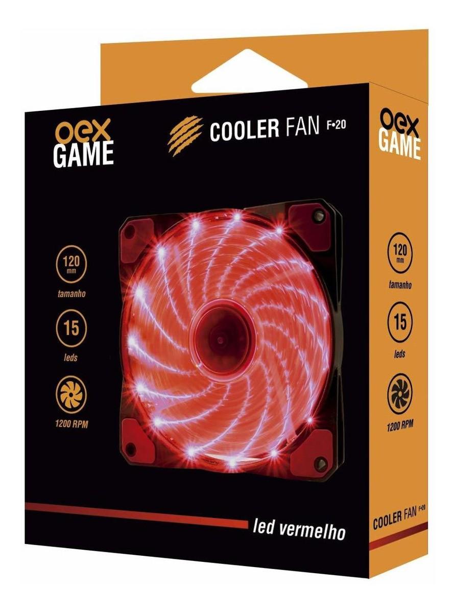 cooler fan led vermelho 16 leds 120 mm 1200 rpm oex game f-20