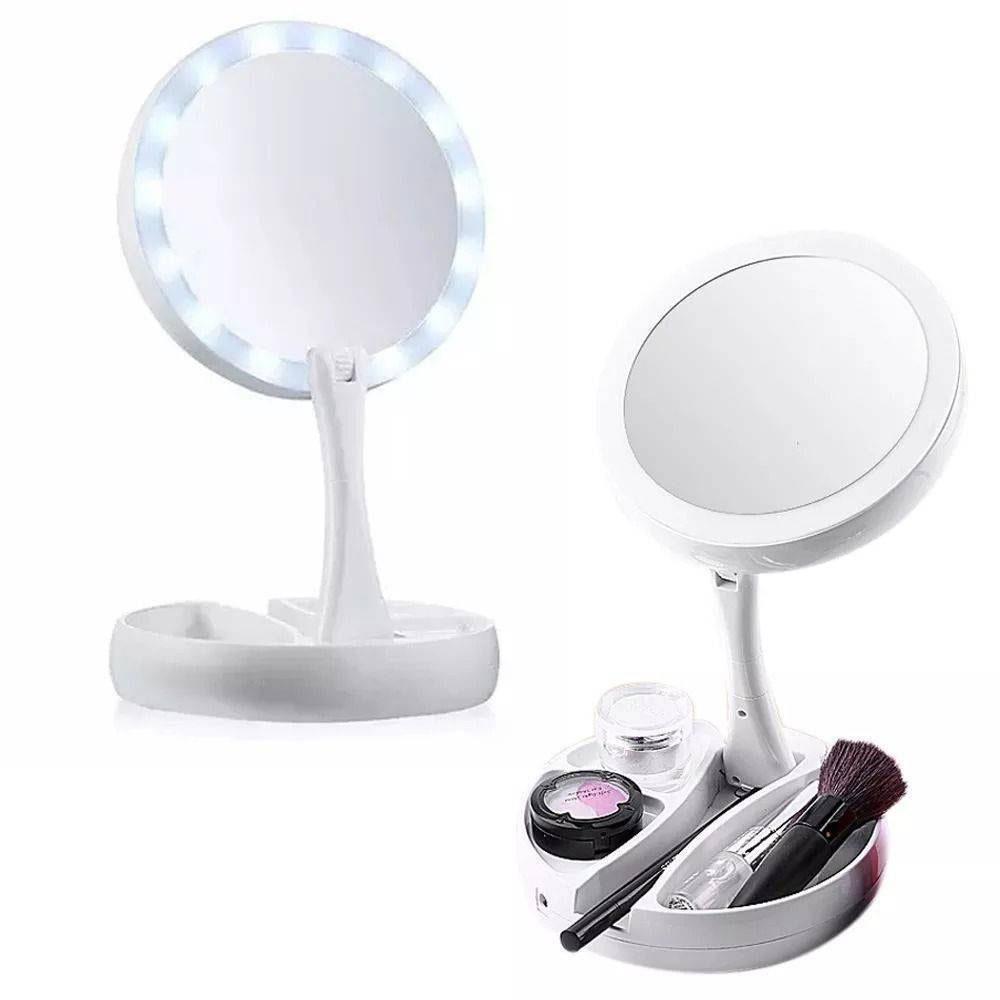 Espelho Ajustável 360° Maquiagem Dupla Face Aumenta em 10x Luz Led Fh-803